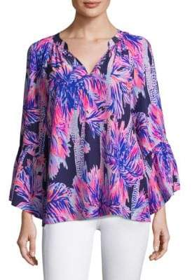 Lilly Pulitzer Matilda Silk Bell-Sleeve Top