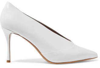 Tabitha Simmons Strike Leather Pumps - White