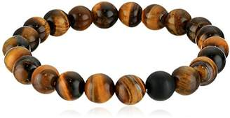 Crucible Jewelry Mens Polished Tiger Eye and Black Matte Onyx Bead Stretch Bracelet (10mm)