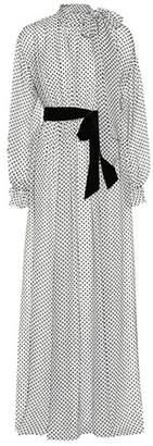 Valentino Polka-dot velvet façonné silk gown