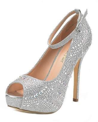 DREAM PAIRS Women's Swan-10 Shine Gold High Heel Plaform Dress Pump Shoes