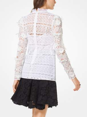 MICHAEL Michael Kors Floral Applique Lace Blouse