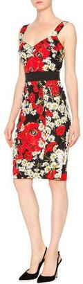 Dolce & Gabbana Sleeveless Banded-Waist Poppy & Daisy Dress, Red/Black/White $2,395 thestylecure.com