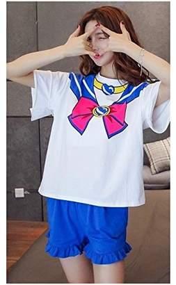 Hello Kitty Sailor Moon Pajama Set, T-shirt, Sleep Suit, Cute, Trendy, Hello Kitty, Pink, Bow, Cotton (L, )