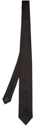Ermenegildo Zegna Polka Dot Silk Jacquard Tie - Mens - Black Multi