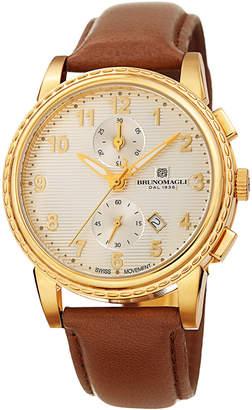 Bruno Magli Men's Dante 42mm Chronograph-Date Watch, Brown/Gold