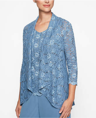 Alex Evenings Sequined Lace Shell & Jacket