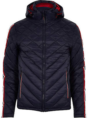 River Island Superdry navy hooded quilted jacket