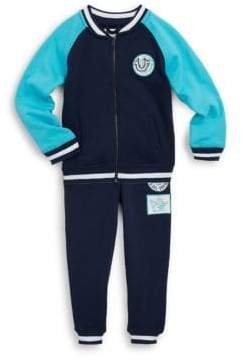 True Religion Little Boy's Two-Piece Cotton Jacket and Embroidered Patch Jogger Pants