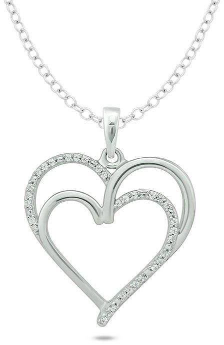 Zales 1/10 CT. T.W. Diamond Double Heart Pendant in Sterling Silver