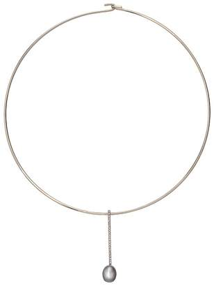 Lauren Ralph Lauren 16 Pave Bar and Fresh Water Pearl Pendant Hard Disc Collar Necklace Necklace