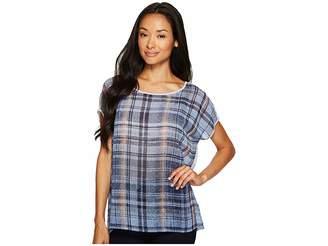 Vince Camuto Short Sleeve Mixed Media Plaid Textures Tee Women's T Shirt
