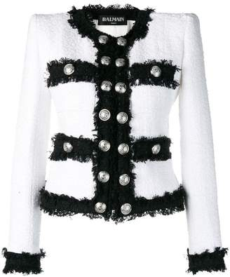 Balmain contrast fringe tweed jacket