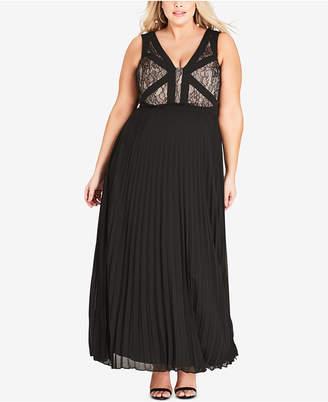 City Chic Trendy Plus Size Tiffany Lace-Bodice Dress