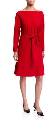 Natori Long-Sleeve Solid Crepe Shift Dress