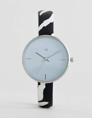 Asos DESIGN Curve watch with faux zebra strap