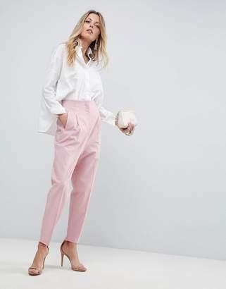 Asos Design Tailored Clean High Waist Linen Peg Pants