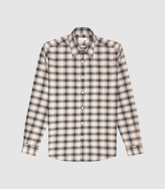 Reiss Fame - Brushed Checked Shirt in Brown