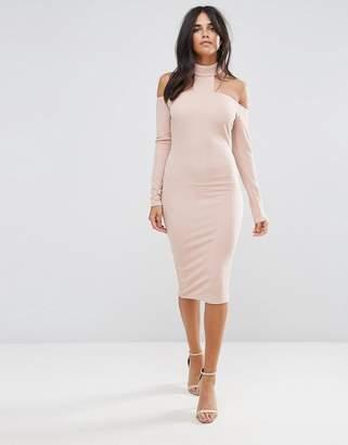 AX Paris Pink Midi Bodycon Dress