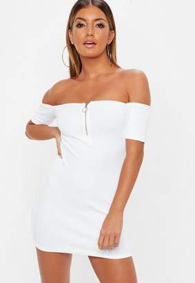 Missguided Petite White Zip Front Ribbed Bardot Dress