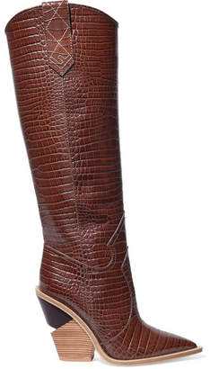 Fendi Croc-effect Leather Knee Boots - Dark brown