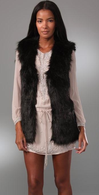 Halston Heritage Faux Fur Vest
