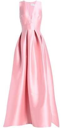 Sachin + Babi Pleated Duchesse Satin-Twill Gown