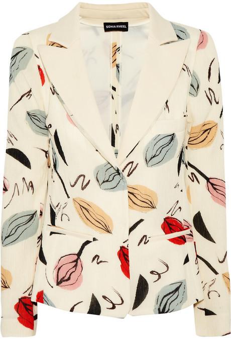 Sonia Rykiel Printed cotton-blend crepe blazer