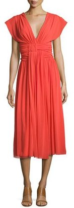 Fuzzi V-Neck Ruched-Waist Tulle Midi Dress, Coral $475 thestylecure.com