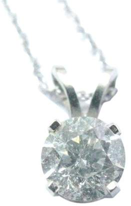 14K White Gold Fine Round Cut .50 ct Diamond Solitaire Pendant Necklace