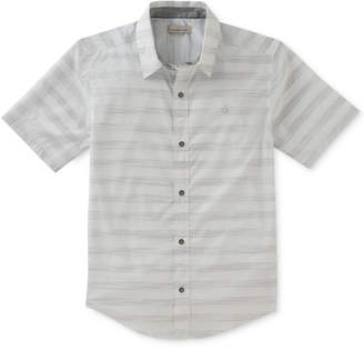 Calvin Klein Space-Dyed Striped Cotton Shirt, Big Boys