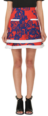 Carven Carven Floral Tiered Mini Skirt, Red/Blue