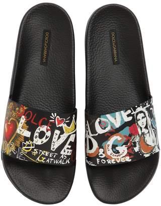 Dolce & Gabbana Graffiti Rubberized Leather Slide Sandal