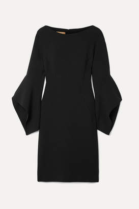 Michael Kors Draped Wool-blend Mini Dress - Black