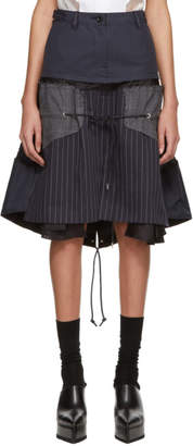 Sacai Navy and Grey Glencheck Stripe Skirt