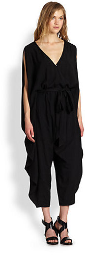 Nicholas K Rue Cropped Belted Draped Jumpsuit