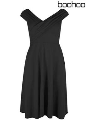 Next Womens Boohoo Plus Pleated Off The Shoulder Skater Dress