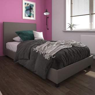 Mainstays Upholstered Bed, Twin Bed Frame, Gray Faux Leather