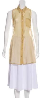 Dries Van Noten Pointed Collar Sleeveless Button-Up Beige Pointed Collar Sleeveless Button-Up
