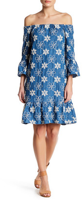 ECI Off Shoulder Floral Embroidered Dress $138 thestylecure.com
