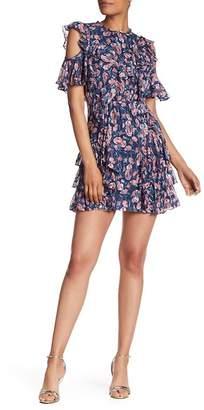 Rebecca Taylor Open-Shoulder Mini Silk Blend Tea Rose Dress