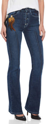 Sonia Rykiel Button Fly Feather Charm Stretch Jeans