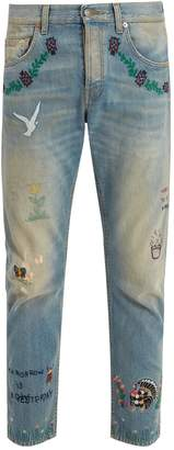 Gucci Mid-rise embroidered tapered-leg jeans