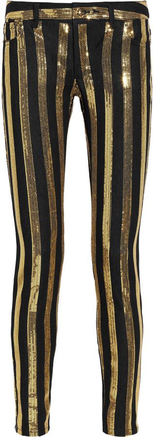 MICHAEL Michael Kors Sequin-striped skinny jeans
