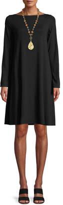 Eileen Fisher Long-Sleeve Bateau-Neck Viscose Jersey Shift Dress, Petite