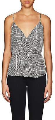 L'Agence Women's Chiara Houndstooth Silk Twisted Top - Black
