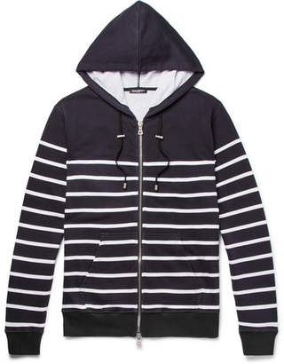 Balmain Striped Loopback Cotton-Jersey Zip-Up Hoodie