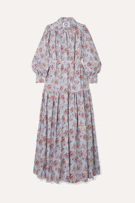 Evi Grintela Elsa Belted Tiered Floral-print Cotton Maxi Dress - Blue
