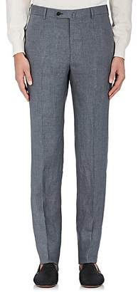 Isaia Men's Linen Flat-Front Trousers - Gray