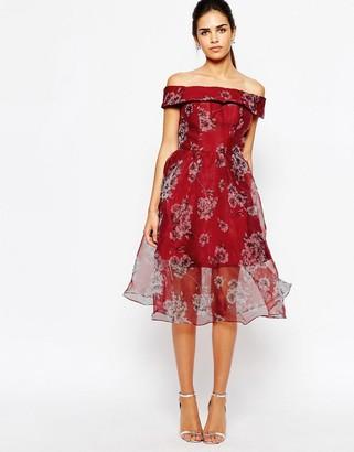 Chi Chi London Off Shoulder Organza Midi Dress $103 thestylecure.com